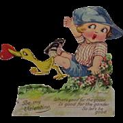 German Mechanical Valentine Boy with Duck