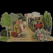 Victorian German Die Cut Train Valentine