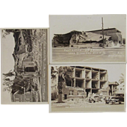 3 Photo Postcards Long Beach California 1933 Earthquake