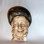 "Antique 5"" Laughing Man's  Head Chalkware Match Holder"