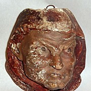 Antique 19th Century Man in Red Cowl Chalkware Match Holder