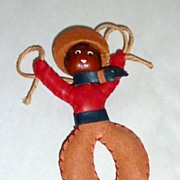 "Vintage 1940's Wood & Leather 4"" Cowboy with Lariat Brooch / Pin"