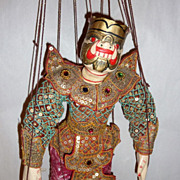 "Vintage Carved Teak Wood Burma Marionette 14"" Ogre – Demon in a Pink Sarong"