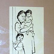 Vintage 1950's Cyrus M. Running - Original Pen & Ink - At the Door