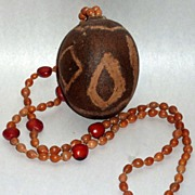 "Vintage African Seed Necklace with 3"" Egg Shaped Pod Pendant"