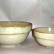 "2 Antique Stoneware Minnesota Farmhouse Bowls 12"" & 9"" diameters"