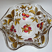 """Vintage Dugan Goofus Glass Ruffled 10"""" Bowl Red Gold Intaglio Cherry Branches"""