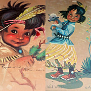 2 Vintage 1950's Matted Prints of Native American Children by Monteague