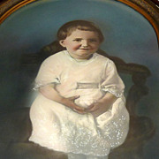 """Antique 25"""" Bubble Glass Framed Hand Colored Photograph - Little Girl in Pink"""