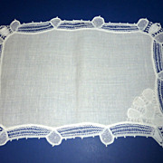 20 Vintage White Linen Placemats with Lace Trim & Corner Napkin Pocket