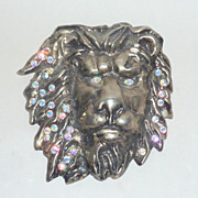 "Vintage Rare Laloon 4 1/2"" Massive Crystal Studded Metal Lion Head Belt Buckle"