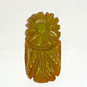 "Vintage Deep Carved Floral Green Bakelite 2"" Dress Clip"