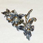 "Sterling Art Nouveau 1 1/2"" Brooch - Flowers Leaves Stems 15gms"