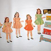 """Vintage 1930's Dionne Quintuplets 8 1/2"""" Paper Dolls, Clothes & Accessories"""