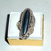 Vintage 1920's Southwest NA Sterling Squash Blossom & Leaf Hematite Ring sz 7