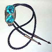 Vintage 1970 Persian Turquoise 925 Sterling Lrg Navajo Bolo by Jefferson Abeyta