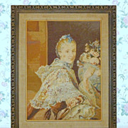 """Vintage 1920's Stunning Needlepoint Ramsay Portrait in Hand Carved Wood 32"""" Frame"""