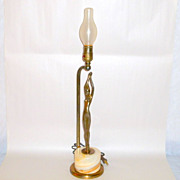 "1930's France Art Deco 24"" Bronzed Nude Balleste Lamp Onyx Block Base"