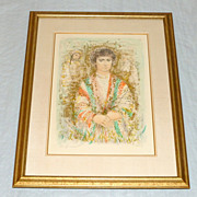 """Vintage Edna Hibel 32"""" Framed Lithograph Young Man with Herbs VII 28/33 ed. 335"""