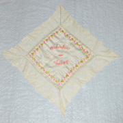 "WWI Hand Embroidered 17"" Silk 7 Lace Handkerchief Coblenz Germany"