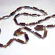 """Vintage 1920's Hand Cut Smoky Brown Crystal Beads 34"""" Strand Necklace"""
