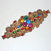 "Antique 4 1/2"" Foil back Colored Rhinestones Flowers & Fern Leaves Sash Pin"