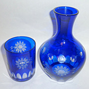 "Vintage 8"" Bohemian Cobalt Cut to Clear Crystal Carafe -Tumble - Up"