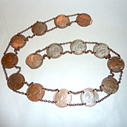 """Vintage 28"""" 1930's England 15 Copper Penny Coin Belt + Spain Alfonso 1879 Copper"""