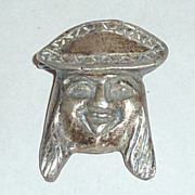 Vintage 1930's PERU 925 Silver Brooch Pin Peruvian Indian Man with Hat