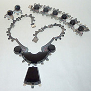 Magnificent Vintage 1930's ACE Mexico Onyx Slabs & Sterling Art Deco Parure