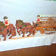 Rare 1920's Germany Lowenbrau Wood Wagon 4 Horses Drivers Kegs 5' Beer Display