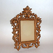 "Vintage Wilton 11"" Ornate Rococo Iron Art Standing Photo / Picture Frame"