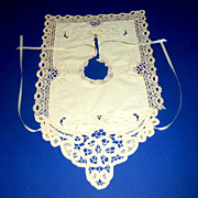 Vintage Baby or Doll Hand Embroidered & Crocheted Ecru Dress Bib