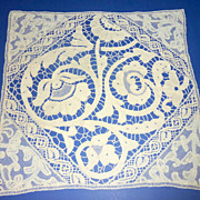 """Vintage 24"""" square Hand Made Ecru Needlework Lace Table Topper Doily"""