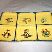 Vintage 1930 PV France Farm Pottery hand painted Pate Condiment Platter