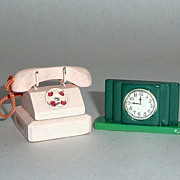 Vintage 1910-1920 Dollhouse Miniatures Carved Wood Telephone & Deco Mantel Clock