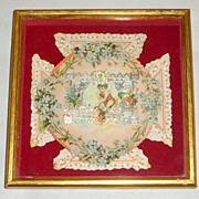 "Framed on Red Velvet Antique Victorian Silver Paper Lace 7"" Valentine ""Keep It"""