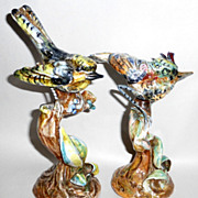 Magnificent Pair of Vintage Multicolored Italian Majolica Birds on Branches