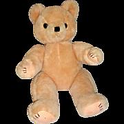 "Vintage 1950's 17"" Gold Mohair Teddy Bear with Glass Eyes & 4 Claw Felt Pads"