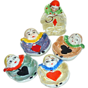 5 Unique Vintage Japan Hand Painted Ceramic Open Salt Clowns ~Bridge Card Suits