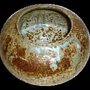 "Vintage Hand Made Artist signed 5 1/2"" Pottery Bowl Blue Green Mocha Glaze"