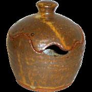 Vintage Hand Made Stoneware Pottery Covered Mustard / Jam / Sugar Pot