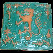 "Marvelous Vintage 4 1/2"" MERCER Moravian Art Tile - Rampant Dragon Lion"