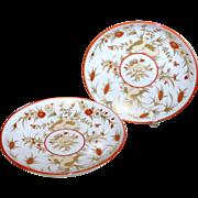 "2 Vintage Villeroy Boch 7"" Heinrich Porzellan Gold Carmine Birds Flowers Plates"