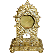 """Antique 1800's Ornate 5 1/2"""" Brass Pocket Watch Stand with Ring / Pin Tray"""
