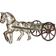"""19th century 5 1/2"""" Cast Iron Toy Horse & Cart with Rolling Wheels"""