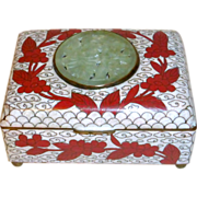 Antique China Export Cloisonne Red Enamel Box with Carved Jade Emblem