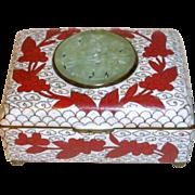 Antique China Export Cloisonne Red Enamel Box with Carved Jade Emblem