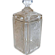 "Victorian Era 6 1/2"" tall Covered Clear Glass Floral Embossed Vanity Jar"