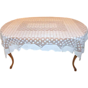 "Gorgeous Antique Ecru Mondano Netting Lace Edelweiss Tablecloth 73"" X 58"""